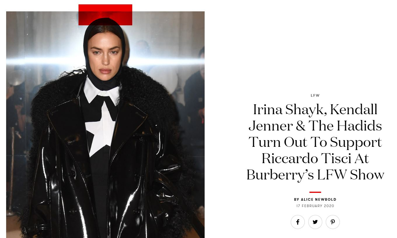 Irina Shayk, Kendall Jenner & The Hadids Turn Out To Support Riccardo Tisci At Burberry's LFW Show