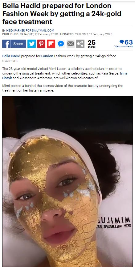 Bella Hadid prepared for London Fashion Week by getting a 24k-gold face treatment