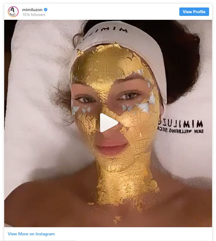 Bella Hadid preps for London Fashion Week with a 24k gold face treatment