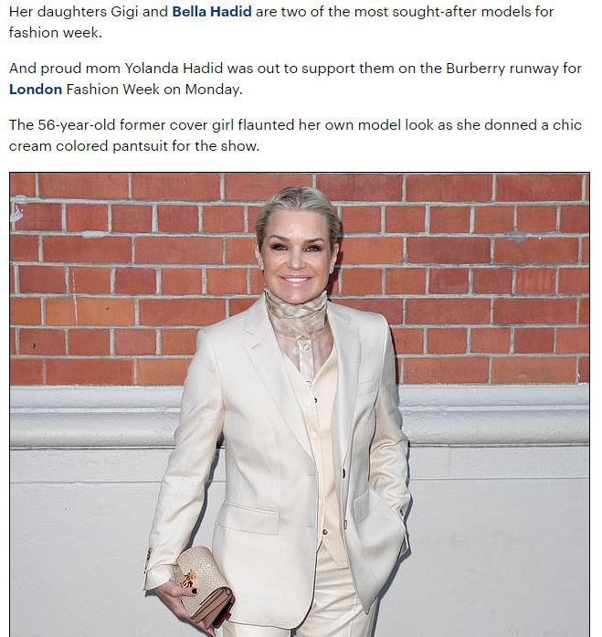 Yolanda Hadid stuns in a chic cream colored pantsuit to support daughters Gigi and Bella on the Burberry runway